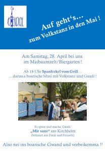 """Volkstanz in den Mai am 28. April 2018 im Maibaumzelt / Biergarten. Ab 18 Uhr Spanferkel vom Grill. Dazu bayerische Musik von """"Mir sans"""" aus Kirchheim mit Volkstanz und Gaudi."""